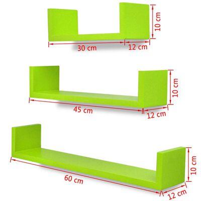 3 db U alakú MDF lebegő polc / könyv, DVD tartó Zöld