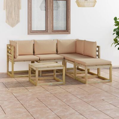 vidaXL 6 részes kerti ülőgarnitúra bézs párnákkal