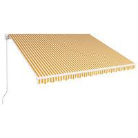 vidaXL sárga és fehér kézzel kihúzható napellenző 400 x 300 cm