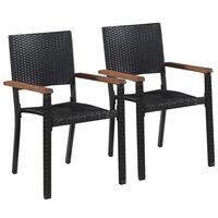 vidaXL 2 db fekete polyrattan kültéri szék