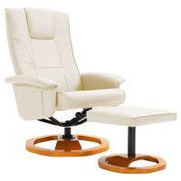 vidaXL krémszínű műbőr elforgatható TV-fotel lábzsámollyal