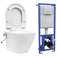 vidaXL fehér kerámia falra szerelhető perem nélküli WC tartály