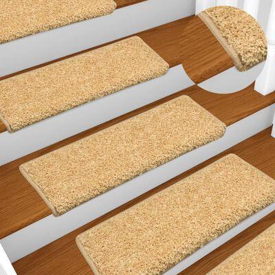 vidaXL 15 db bézs lépcsőszőnyeg 65 x 25 cm