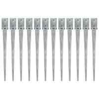 vidaXL 12 db ezüstszínű horganyzott acél kerítéstüske 9 x 9 x 90 cm
