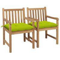 vidaXL 2 db tömör tíkfa kerti szék élénkzöld párnával