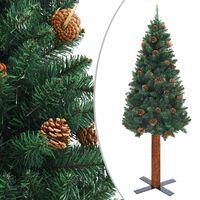vidaXL zöld vékony PVC karácsonyfa valódi fával és tobozokkal 180 cm