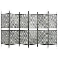 vidaXL 6 paneles antracitszürke polyrattan paraván 360 x 200 cm