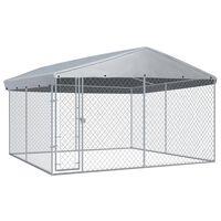 vidaXL kültéri kutyakennel tetővel 382 x 382 x 225 cm