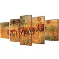 Nyomtatott vászon falikép szett oroszlánok 100 x 50 cm