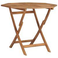 vidaXL tömör tíkfa összecsukható kerti asztal 85 x 85 x 76 cm