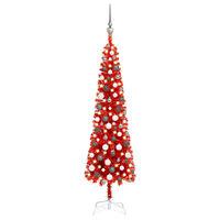 vidaXL piros vékony karácsonyfa LED-ekkel és gömbszettel 150 cm