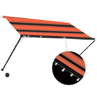 vidaXL narancssárga és barna feltekerhető napellenző LED-del 250 x 150 cm