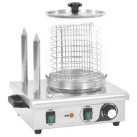 vidaXL rozsdamentes acél hot-dog melegítő 2 rúddal 500 W