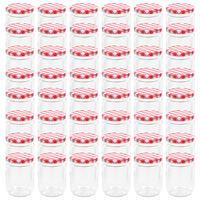 vidaXL 48 db 230 ml-es befőttesüveg piros-fehér tetővel