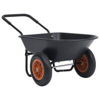 vidaXL fekete és narancssárga talicska 78 L 100 kg