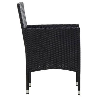 vidaXL 4 részes fekete polyrattan kerti bútorszett párnákkal