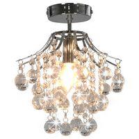 vidaXL ezüstszínű kerek mennyezeti lámpa kristálygyöngyökkel E14