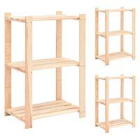 vidaXL 3 db 3-szintes tömör fenyőfa tárolópolc 150 kg 60 x 38 x 90 cm