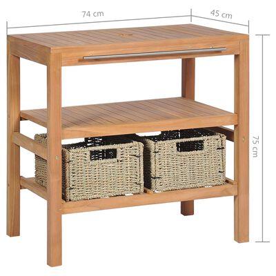 vidaXL tömör tíkfa fürdőszobai pipereszekrény 2 kosárral 74x45x75 cm