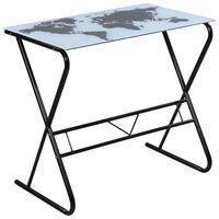 Üvegasztal / íróasztal világtérkép nyomtatású asztallappal