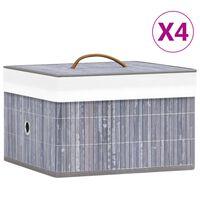 vidaXL 4 db szürke bambusz tárolódoboz