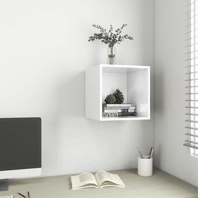 vidaXL magasfényű fehér forgácslap faliszekrény 37 x 37 x 37 cm