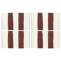 vidaXL 4 db fehér-burgundi vörös csíkos pamut tányéralátét 30 x 45 cm