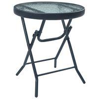 vidaXL fekete acél és üveg bisztróasztal 40 x 46 cm