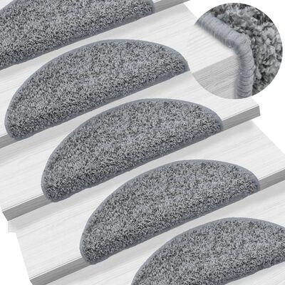 vidaXL 15 darab szürke lépcsőszőnyeg 56 x 20 cm