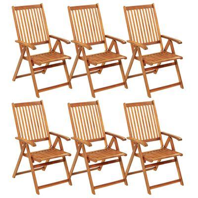 vidaXL 6 db összecsukható tömör akácfa kerti szék párnával