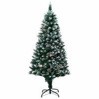 vidaXL műkarácsonyfa fenyőtobozokkal és fehér hóval 180 cm