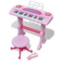 Játék 37 billentyűs zongora székkel és mikrofonnal rózsaszín