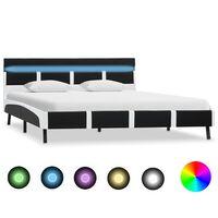vidaXL fekete LED-es műbőr ágykeret 160 x 200 cm