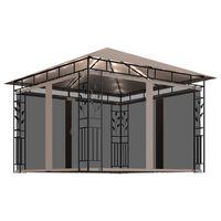 vidaXL tópszínű pavilon szúnyoghálóval/fényfüzérrel 3x3x2,73m 180g/m²
