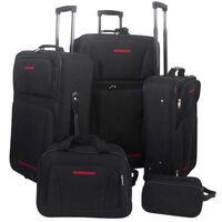 vidaXL 5 darabos fekete utazóbőrönd szett