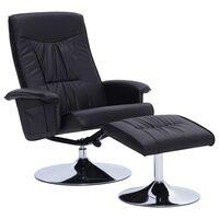vidaXL fekete állítható műbőr fotel lábzsámollyal