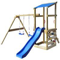 vidaXL fa játszóház szett létrával, csúszdával és hintával 290 x 260 x 235 cm