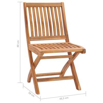 vidaXL 6 db összecsukható tömör tíkfa kerti szék párnával