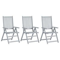 vidaXL 3 db szürke tömör akácfa kerti dönthető szék