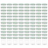 vidaXL 96 db 400 ml-es befőttesüveg zöld-fehér tetővel