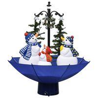 vidaXL kék PVC havazó karácsonyfa ernyő alakú talppal 75 cm