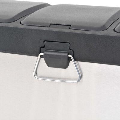 vidaXL rozsdamentes acél lábpedálos szelektív szemeteskuka 24 L
