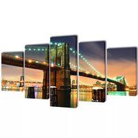 Nyomtatott vászon falikép szett Brooklyn híd 100 x 50 cm