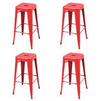 vidaXL 4 db piros acél bárszék