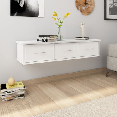 vidaXL magasfényű fehér falra szerelhető forgácslap fiókos polc 88x26x18,5 cm