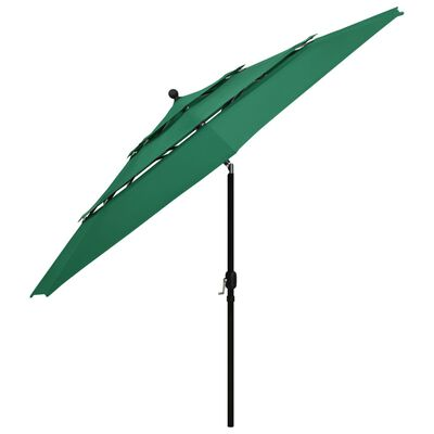 vidaXL 3 szintes zöld napernyő alumíniumrúddal 3,5 m