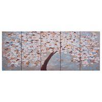 vidaXL többszínű virágzó fa nyomtatott vászon falikép szett 150x60 cm