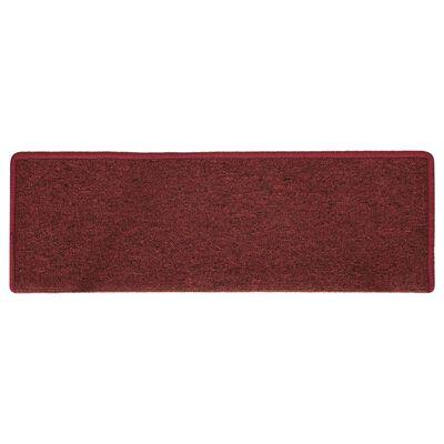 vidaXL 15 db matt piros lépcsőszőnyeg 65 x 25 cm
