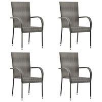 vidaXL 4 db szürke rakásolható polyrattan kültéri szék