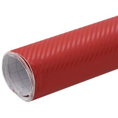 vidaXL matt piros 3D autófólia 500 x 152 cm, Red